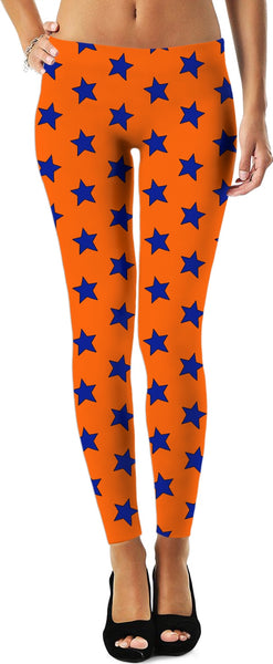 Blue Stars Orange Leggings
