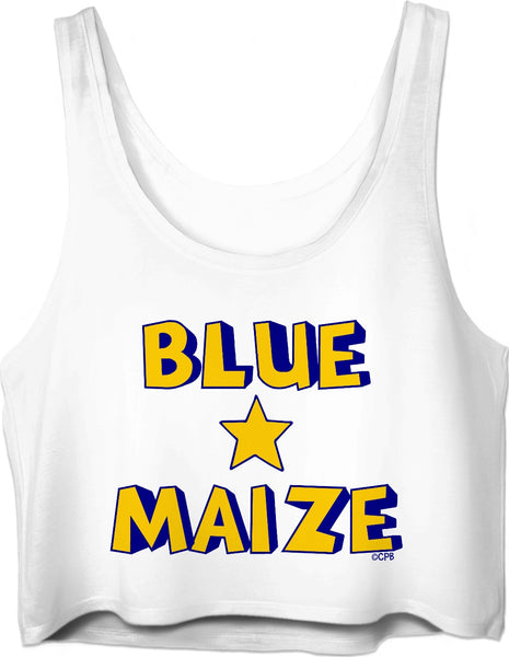 Blue & Maize Star Crop Top