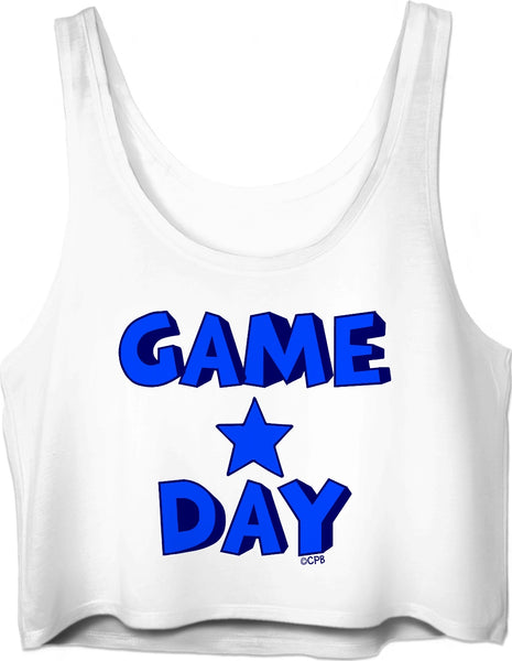 Blue Star Stacked Game Day Crop Top