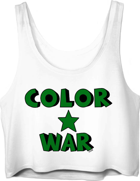 Green Color War Star Stacked Crop Top