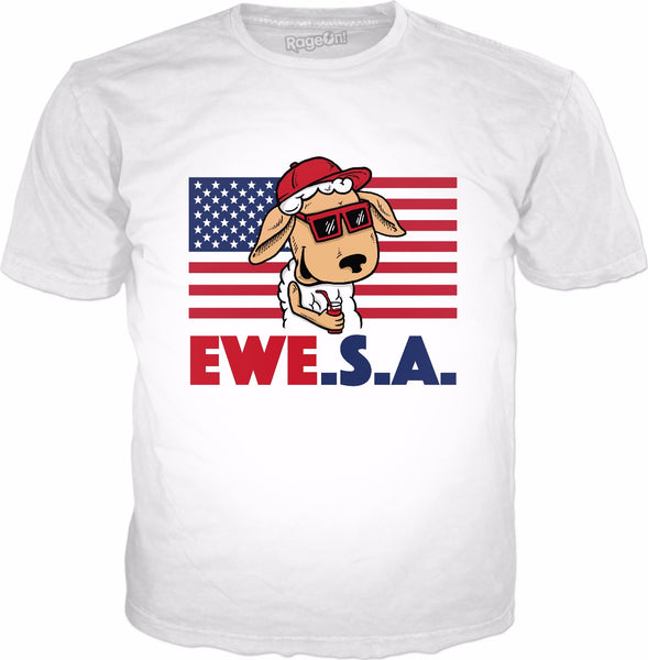 Ewe S A T-Shirt - Funny July 4th Independence Day