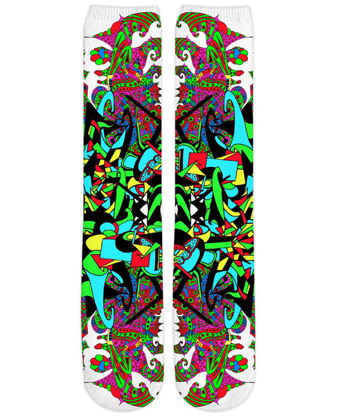 Super Trippy Psychedelic Crest Knee High Socks
