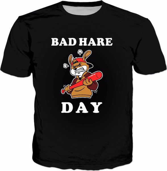 Bad Hare Day T-Shirt - Rabbit Bad Hair Pun