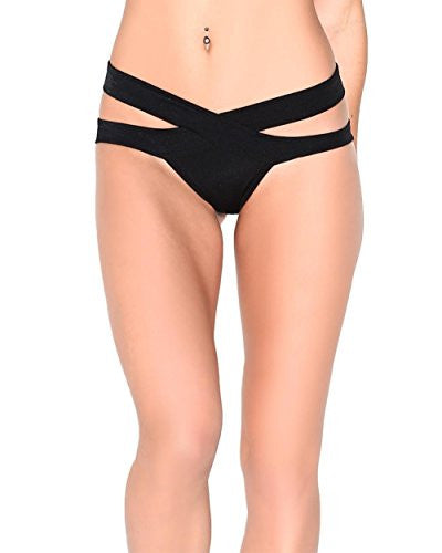 Strappy Scrunch Back Rave Booty Shorts (Small/Medium, Black)