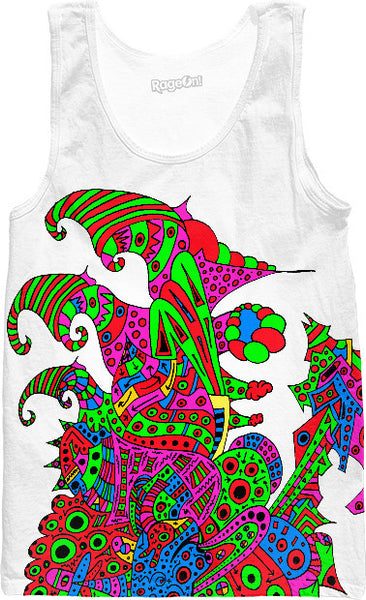 Alien 57 Blue Red Green Pink Blue & Orange Tank Top