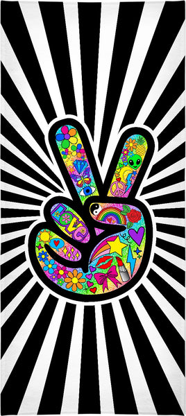 Funky Peace Sign Starburst Beach Towel