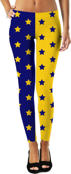 Blue & Yellow Split Stars Leggings