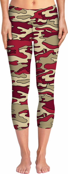 Red & Cream Camo Yoga Pants