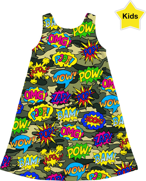 Camo Pop Art Kids Dress