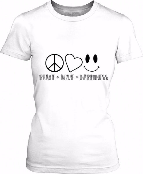 Peace Love Happiness Womens T-Shirt