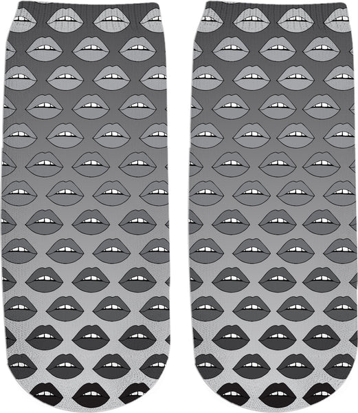 Gray Ombre Lips Ankle Socks