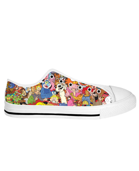80's Cartoon Collage White Sole Low Tops