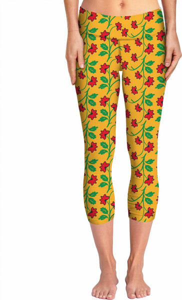 Frida Kahlo Flower Pattern Yoga Pants