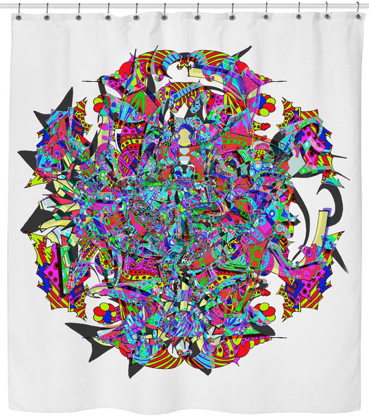 Neon Waffle Monster 12 Shower Curtain