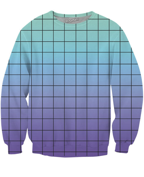 Blue Purple Grid Crewneck Sweatshirt