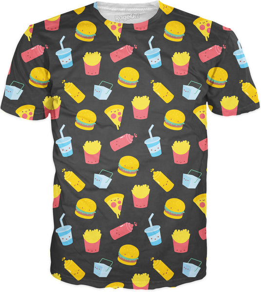 Junk Food Pattern Gray T-Shirt