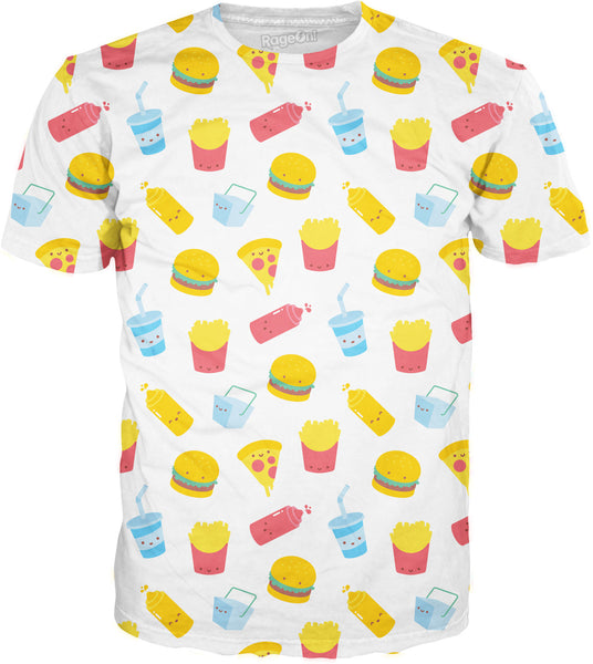 Junk Food Pattern White T-Shirt