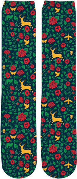 Frida Kahlo Wounded Deer Pattern Knee-High Socks