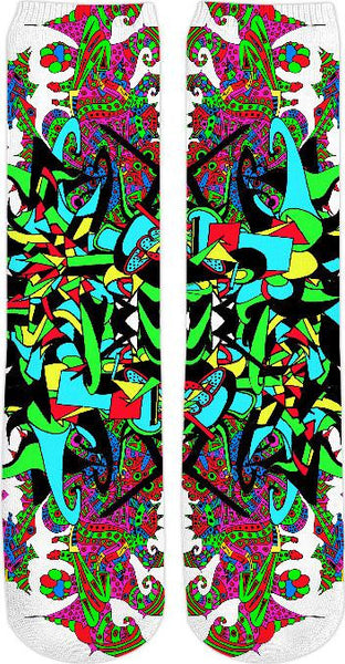 Super Trippy Psychedelic Crest Crew Socks