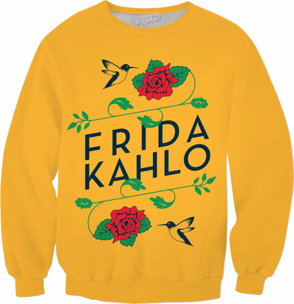 Frida Kahlo Birds & Roses Yellow Sweatshirt