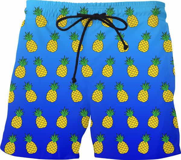 Pineapple Blue Ombre Swim Shorts