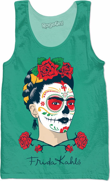 Frida Kahlo Sugar Skull Green Tank Top