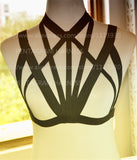 Women Sexy Cage Bra Harness Black Gothic Fetish Dress Inspired Bondage Crop Top Body Cage Skirt costume Halloween Rave Wear