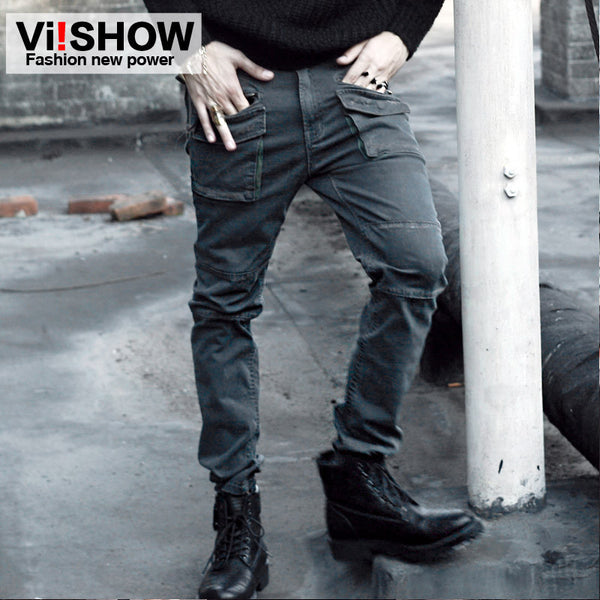 2016 Mens Fashion Multi Pocket Cargo Pants Casual Cotton Loose Baggy Streetwear Casual Long Trousers Plus Size