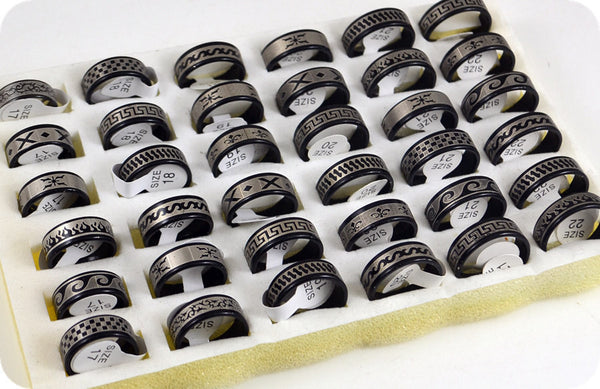 18pcs/lot Mix Black Blue Gold Silver Stainless Steel Rings Men's Women Fashion Jewelry