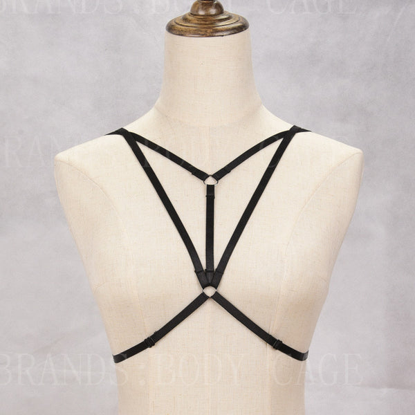 Bondage Body Harness Cage Bra Strappy Bra Elastic Crop Top Sexy Gothic Lingerie Fetish Exotic Burlesque Dance Festival Rave Wear