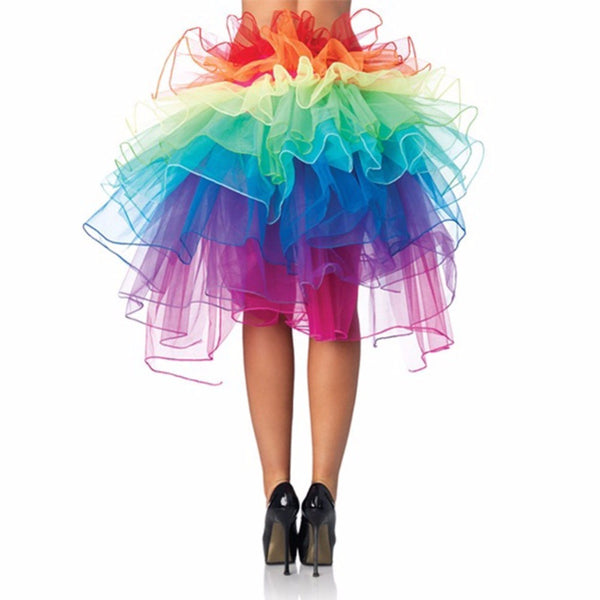 Fashion Bubble Skirts For Women Colorful Fluffy Tutu Ballet Dance Rave Rainbow Skirt Plus Size Ball Gown Petticoat Accessories