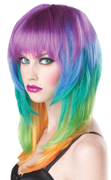 Kaleidoscope Hairstyle Medium Length Multi Color Rave Neon Rainbow Halloween Costume Synthetic Wig for Cosplay
