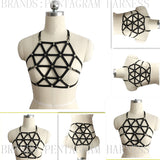 90 Goth Sexy Body Harness Caged Bra Inspired Bondage Crop Top Frame Black Elasticity Sexy Garter Belt Fetish Lingerie Rave Wear