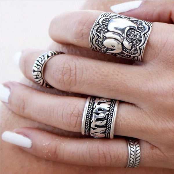 Bohemian Style 4pcs/Pck Vintage Anti Silver Color Rings Elephant Totem Leaf Lucky Rings Set for Women Party Free Shipping