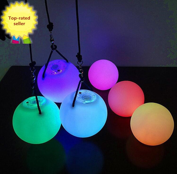 HOT selling! 1PCS Light Up Poi Balls Pair &thrown balls with 7 Color & 9 Function- LED Glow for Rave, women Belly Dancer Prop