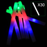 30pcs Light Up Multi Color LED Foam Stick Wands Rally Rave Cheer Batons Party Flashing Glow Stick Light Sticks E2shoppin