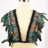 2016New Women Feather Bra,festival Rave,Feather Lingerie,Sexy Crop Top Gypsy Lingerie,Halloween Fetish Goth Funny Witchy Costume