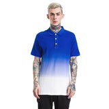 Gradient Turn-Down Collar T-Shirt