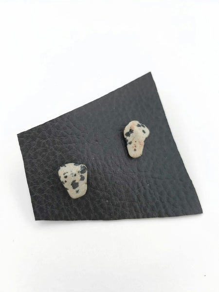 DALMATION JASPER: Crystal Stud Earrings