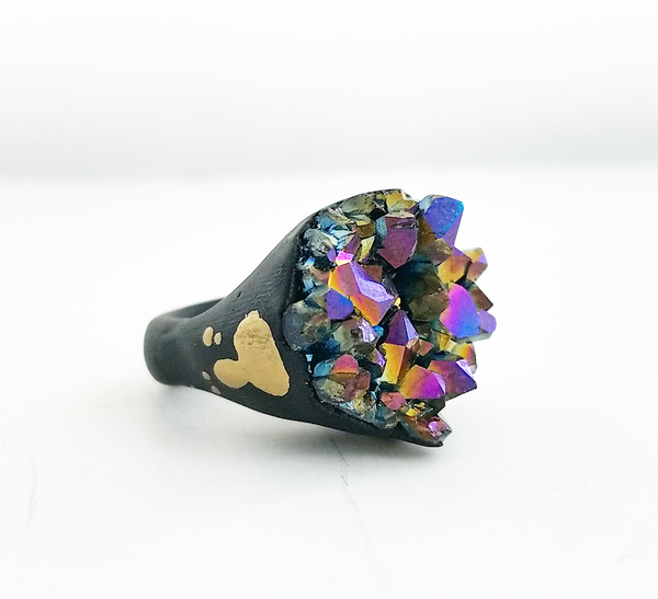 RAINBOW TITANIUM QUARTZ: Size 6 Ring