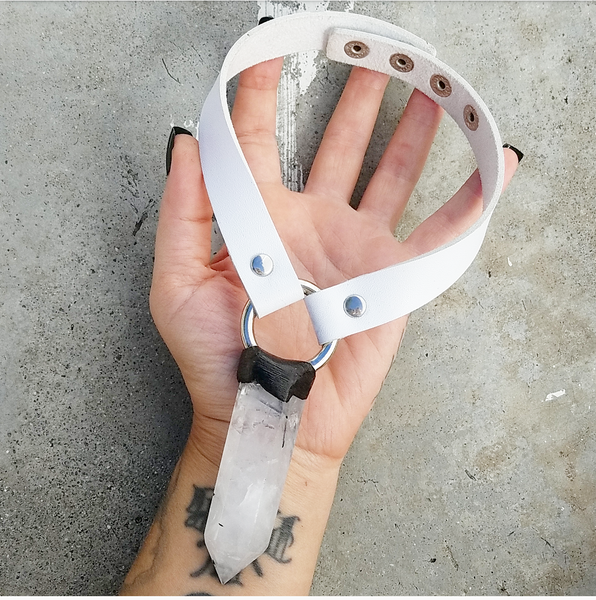 TOURMALINATED QUARTZ: Vegan Leather Choker