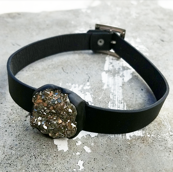 PYRITE: Vegan Leather Choker
