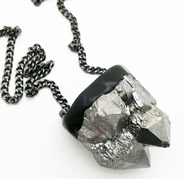 SILVER TITANIUM QUARTZ: Long Necklace