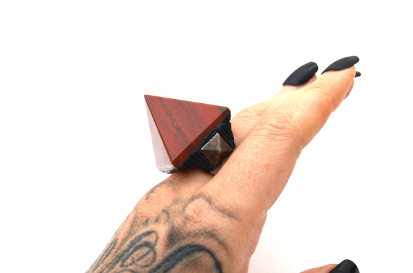 RED JASPER : Adjustable Pyramid Ring