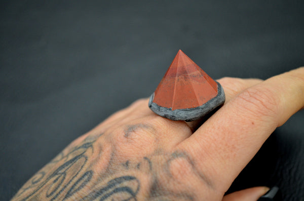 RED JASPER : Adjustable Octogon Pyramid Ring
