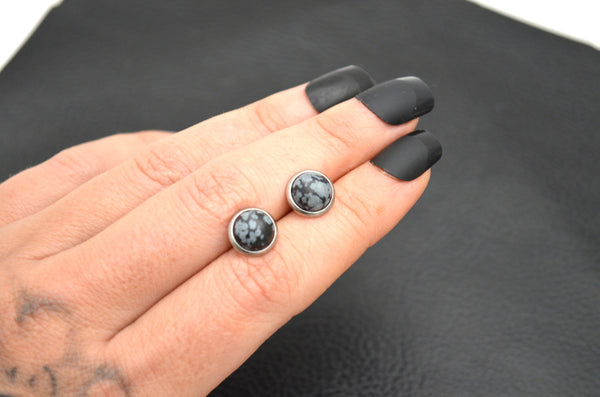 SNOWFLAKE OBSIDIAN: 8mm Crystal Stud Earrings
