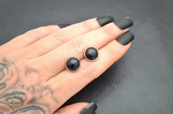 BLACK ONYX: 10mm Crystal Stud Earrings