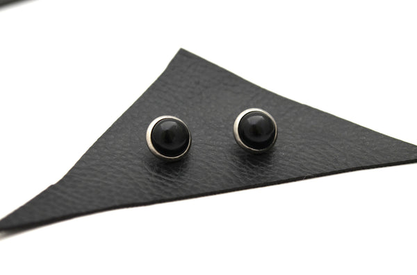 BLACK ONYX: 8mm Crystal Stud Earrings