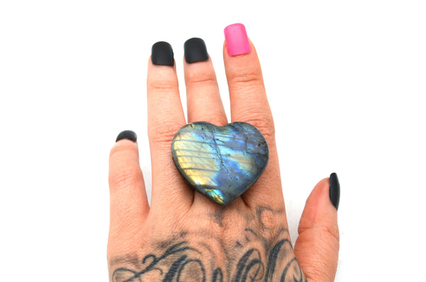 LABRADORITE: Adjustable Heart Ring