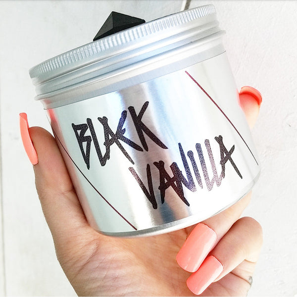 BLACK VANILLA:  Soy Candle with Crystal Pyramid